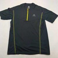 Salomon Mens Activewear Short Sleeve 1/4 Zip T-Shirt Black Acti Lite Crew Neck L