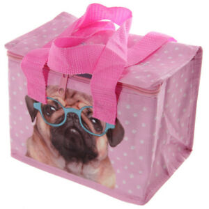 Pink Pug - Pugs & Kisses - Kids Adult SCHOOL Insulated Cool Lunch Bag Picnic