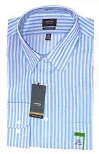 Arrow Mens Dress Shirt 16.5 32 33 Blue Stripe Classic Fit Poplin Button Down
