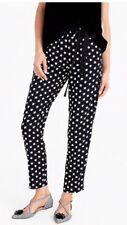 JCREW $89.50 Tie-waist pant in star-printed crepe Size8 G8644 In Black/White