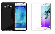 BLACK S-LINE TPU CASE+ CLEAR SCREEN PROTECTOR FOR T-MOBILE SAMSUNG GALAXY J7