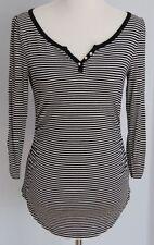 Women's WHITE HOUSE BLACK MARKET White Black Stripe 3/4 Sleeve V-neck Top Sz S