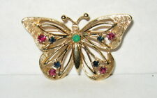 Signed ALA 14K Solid Gold Jeweled Ruby Sapphire Emerald Butterfly Brooch Pin