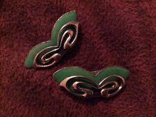 Vintage MATISSE RENOIR Copper w/ Green Enamel Clip On Earrings
