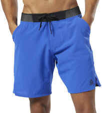 Reebok Epic Knit Waistband Mens Training Shorts Blue Crossfit Gym Workout Short