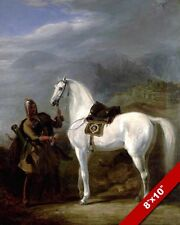 CIRCASSIAN CHIEF IN ARMOR & HIS HORSE PAINTING REAL CANVAS CAUCASIAN ART PRINT