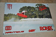 "RONIX ONE DANNY HARF RED BANNER 48"" * 32"" 2 Free Ronix Wakeboard Stickers Decal"