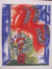 Israel -lsrael Art- Reuven Rubin - Red Horses - Silkscreen -S/N - L/E - Colorful