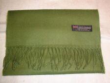 100% Cashmere Winter Long Scarf Olive Green Made in Scotland Warm Wool Men Women