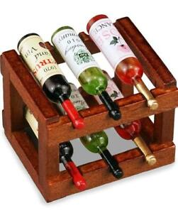 DOLLHOUSE Wood Wine Rack with Wines Reutter 1.852/5 Miniature