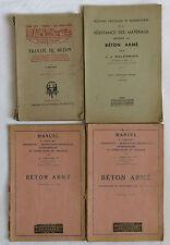 BÉTON ARMÉ, TRAVAIL du BÉTON, par DAHIN, BUILDER et SALEMBIER, 4 livres anciens