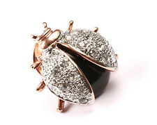 Park lane Gold plated ladybug Brooch with black glass body and Rhinestones.