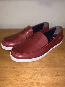 Cole Haan Red Leather Penny Loafer Slip On Driver Shoes Mens 11.5