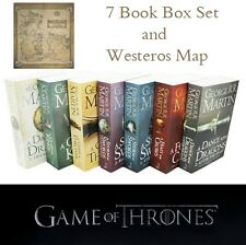 NEW A Song Of Ice And Fire - Game Of Thrones - 7 Book Box Set With Westeros Map