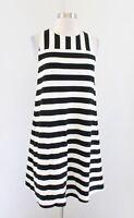 NWT Ann Taylor Loft Black Off White Striped Sleeveless Shift Dress Size PS SP