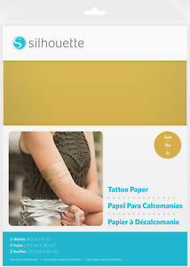 """Silhouette 8.5""""X11"""" Temporary Tattoo Paper 2/Pkg-Gold -MEDIAGLD"""