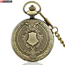 Antique Bronze Shield Quartz Vintage Antique Pocket Watch Necklace Pendant Gift