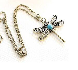 Xmas Vintage antique dragon fly design necklace pendant