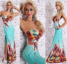 sexy de mujer Pieza palabra de honor Largo Maxi Vestido en Multicolor /