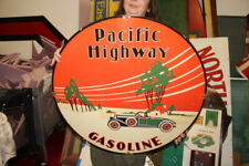 "Large Pacific Highway Gasoline Gas Station 30"" Porcelain Metal Sign"