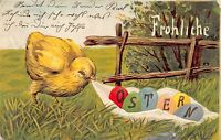 AK Litho. Prägekarte Fröhliche Ostern Küken mit Ostereier Postkarte gel. 1907
