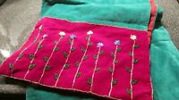 "Pier One Imports Red/Green Sequins Velvet Flower Bling Table  Runner 13"" X 72"""