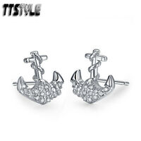 TTStyle RHODIUM 925 Sterling Silver Anchor Earrings A Pair NEW