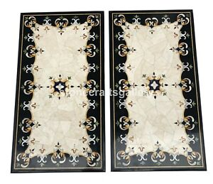3'x2' Pair Black Marble Dining Table Top Marquetry Floral Inlay Art Decors B108