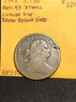 1797 draped bust large cent S.130 Curved Die Break