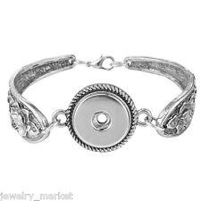 """JM 1PC Leather Snap Bracelet Fit Snap Button silver tone 21cm(8 2/8"""")"""