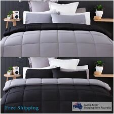 Double Bed Reversible Comforter Bedding Set Quilt Pillowcase Black Bedspread