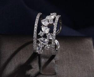 18k White Gold GP Cocktail Adjustable Ring made w Swarovski Crystal Stone Bridal