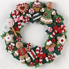 Felt Embroidery Kit ~ Plaid / Bucilla Christmas Cookies and Candy Wreath #86264