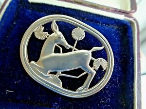 Georg Jensen Danish Sterling Silver Kneeling Deer Brooch no. 256 Denmark c.1960s