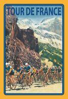 Tour De France Bergabschnitt Panneau Métallique Plaque Voûté en Étain 20 X 30 CM