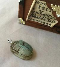Rare Antique Faience Scarab Beetle Amulet Figurine Ancient Egyptian