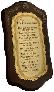 Vintage Home Interiors The Ten Commandments Wood & Brass Metal Wall Plaque 19x11