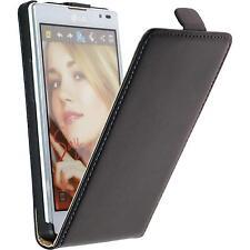 Artificial Leather Case for LG Optimus L9 - Flip-Case black + protective foils