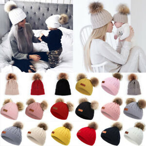 Kids Boys Girls Winter Bobble Hat with Ear Flaps Warm Hooded Beanie Cap Thermal Knitted Earcuff Hat Pom Beanie Beret Windproof Snow Skiing Cycling Hat for Girls Boys for 5-11 Year Old