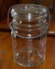 Vintage Clear 1/2 Pint Size Canning Jar With Glass Lid & Wire Bail No Markings