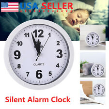 Alarm Clock Wall Smooth Sweeping Quartz Watch Battery Operated Home Decors Usa