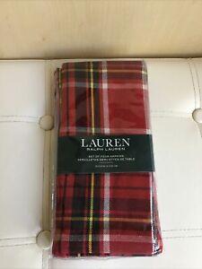 New Ralph Lauren Tartan Napkins Set of 4 (51x51cm) 100% Cotton