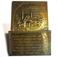 Antique Metal Letter Holder Cottage Home and House Blessing in Relief