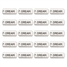 20pcs Alloy Rectangle Tag with Word Dream Pendants Charm Jewelry Keychain 21mm