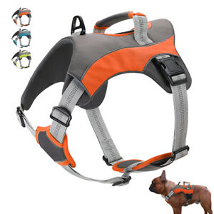 Oxford Cloth Reflective Dog Harness Padded Large Dog Vest with Vertical Handle