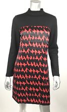 Milly NY Dress 6 Black Red Geo Striped Knit Silk Long Sleeve Lined Mock Neck