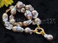 Z8784 30mm Lavender Baroque Keshi Reborn Pearl Necklace Pendant CZ Ring 17inch
