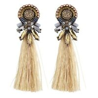 New Women Boho Crystal Long Tassel Fringe Ear Stud Drop Dangle Earrings Jewelry