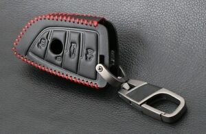 Black with Red Stitching Leather Remote Key Case Cover For BMW  Car Key + CLIP