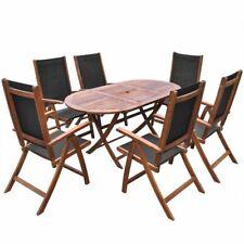 vidaXL Set de Muebles Comedor de Jardín Plegable 7 Piezas de Madera de Acacia